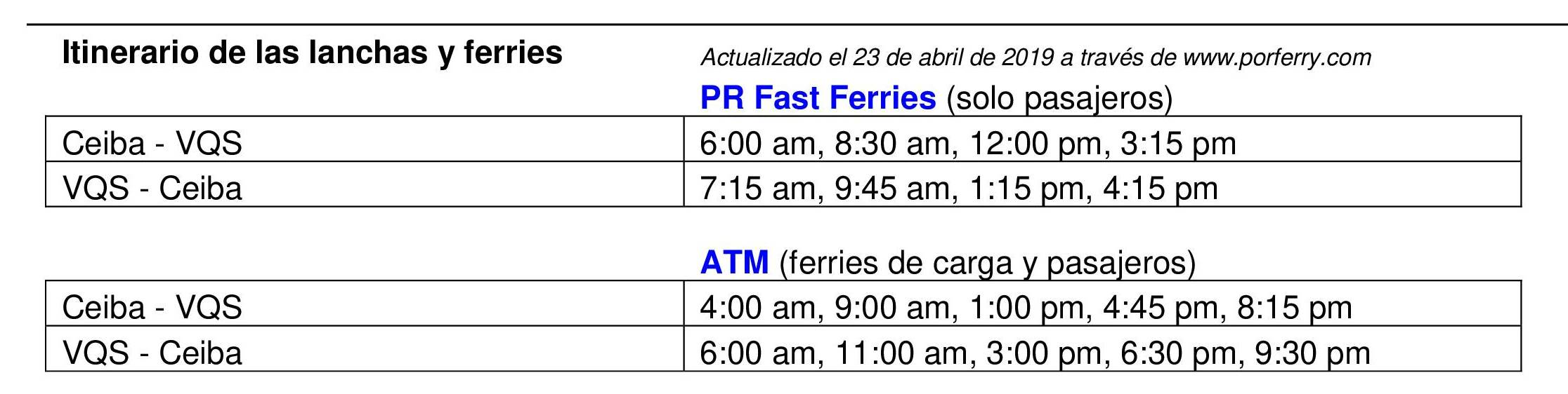 New ferry schedule – Justice for Vieques Now
